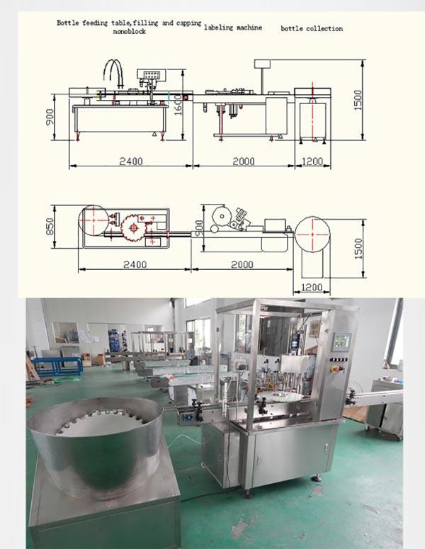 Línea de producción de tapones de tapones de llenado de líquidos electrónicos de viales